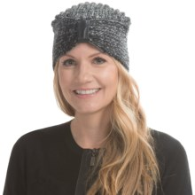 Laundry by Design Plaited-Rib Turban - Leather Detail (For Women) in Charcoal/Black - Closeouts