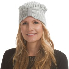 Laundry by Design Plaited-Rib Turban - Leather Detail (For Women) in White/Gray - Closeouts