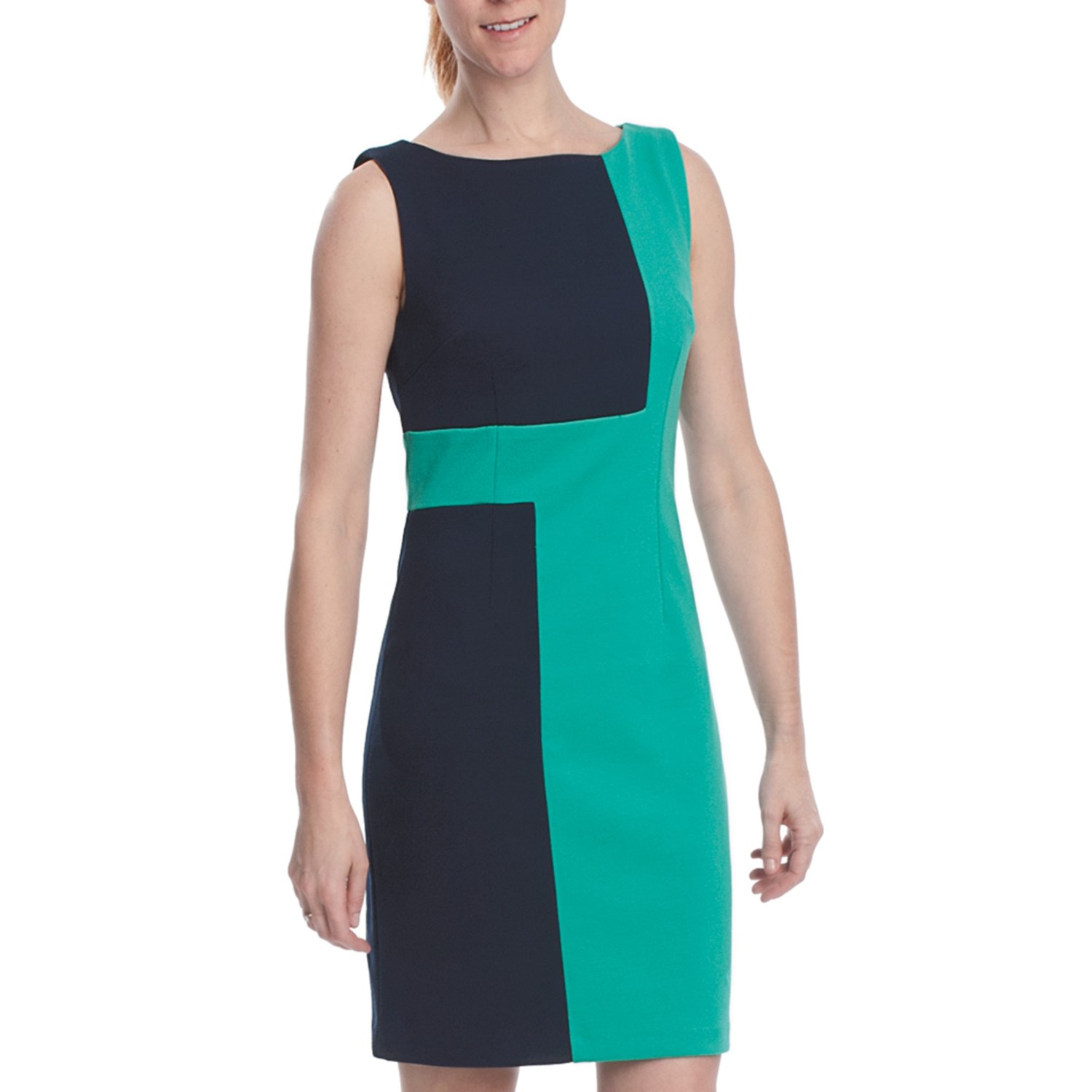 Laundry By Design Ponte Geo Color Block Dress Sleeveless