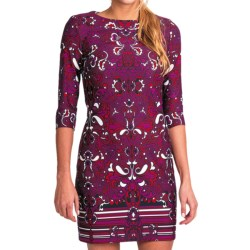 Laundry by Design Ponte Knit Sheath - 3/4 Sleeve (For Women) in Boysenberry Multi