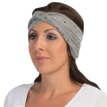 Laundry by Design Ribbed Headband - Metal Embellishments (For Women) in Medium Heather Grey/Gunmetal Studs - Closeouts