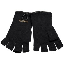 Laundry by Design Shorty Driver Gloves - Leather Trim and Button (For Women) in Black/Black Leather - Closeouts