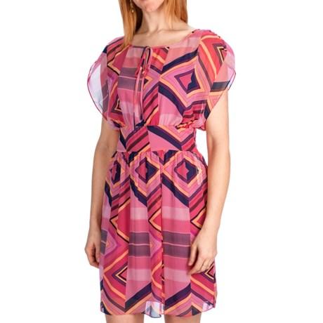 Laundry by Design Spring Stripes Chiffon Dress - Short Sleeve (For Women) in Flower Multi