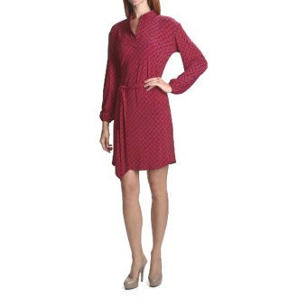 Laundry by Design Tic Tac Toe Shirt Dress - Matte Jersey, Long Sleeve (For Women) in Fire/Red Plum