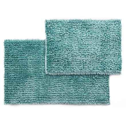 Laura Ashley Butter Chenille Bath Mat Set - 2-Piece, Aqua in Aqua - Closeouts