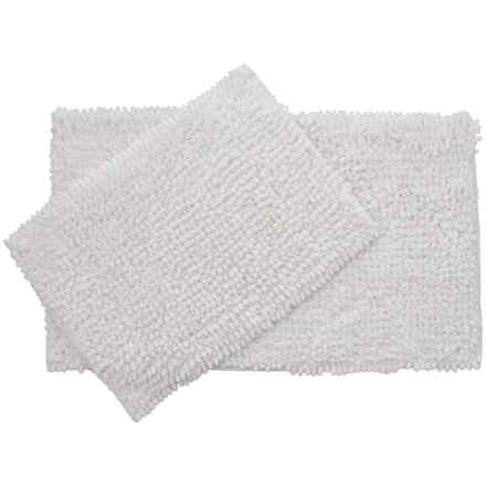 Laura Ashley Butter Chenille Bath Mat Set - 2-Piece, White in White - Closeouts