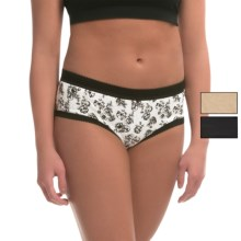 Laura Ashley Cotton Panties - Briefs, 3-Pack (For Women) in Black Carved Roses/Oatmeal Heather/Black - Closeouts