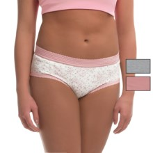 Laura Ashley Cotton Panties - Briefs, 3-Pack (For Women) in Rose Wood Dotted Blooms/Grey Heather/Rose Wood - Closeouts