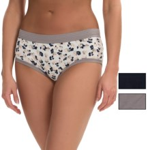 Laura Ashley Cotton Panties - Briefs, 3-Pack (For Women) in Soft Pebble Tropical Flower/Subtle Taupe/True Navy - Closeouts