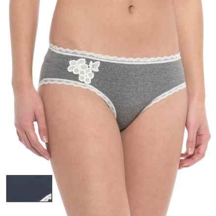 Laura Ashley Crochet Heather Panties - 2-Pack, Bikini (For Women) in Heather - Closeouts