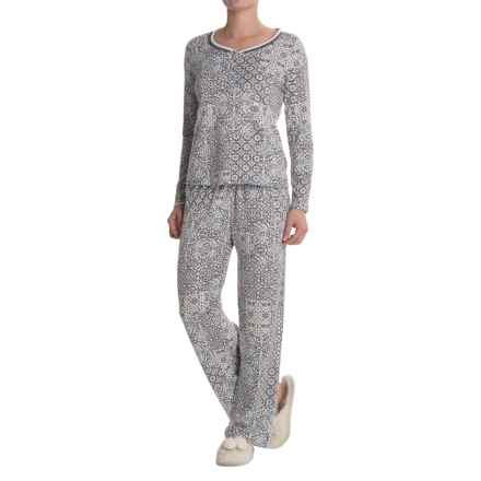 Laura Ashley Double Banded Pajamas - Long Sleeve (For Women) in Blue Patchwork - Closeouts
