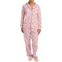 Laura Ashley Fleece Pajamas - Long Sleeve (For Women) in Slip Pink Plaid - Closeouts