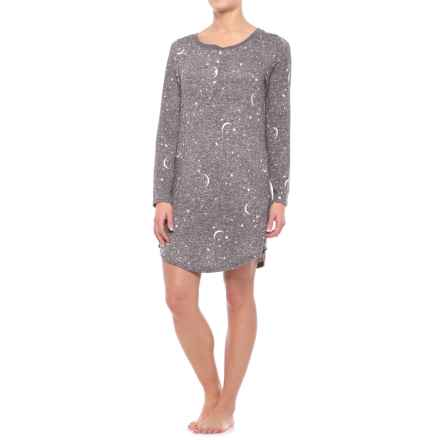 Laura Ashley Henley Sleep Shirt - Long Sleeve (For Women) in Charcoal Stars - Closeouts