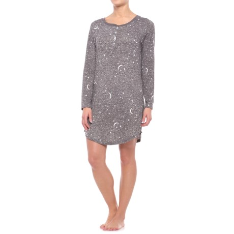 Laura Ashley Henley Sleep Shirt - Long Sleeve (For Women) in Charcoal Stars