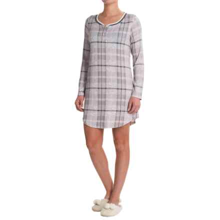 Laura Ashley Henley Sleep Shirt - Long Sleeve (For Women) in Grey Plaid - Closeouts