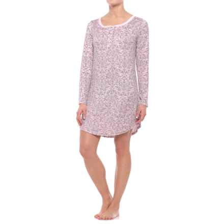 Laura Ashley Henley Sleep Shirt - Long Sleeve (For Women) in Pink Damask - Closeouts