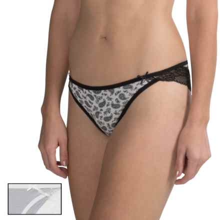 Laura Ashley Lace-Trimmed Bikini Panties - 2-Pack (For Women) in Antique White Tossed Floral Paisley/Silver - Closeouts