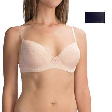 Laura Ashley Microfiber Lace Trim Demi Bra - 2-Pack, Underwire, Molded Cups (For Women) in Almond/True Navy - Closeouts