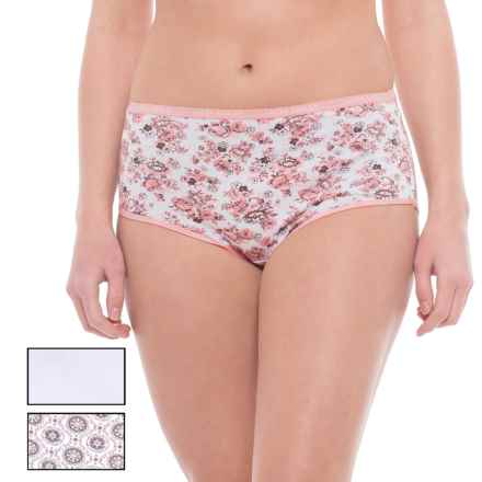 Laura Ashley Printed Cotton Panties - 3-Pack, Briefs (For Women) in Abbeville Pink Bouquet Cluster/Smokey Taupe Geo Bl - Closeouts