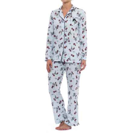 Laura Ashley Printed Pajamas - Long Sleeve (For Women) in Blue Paris - Closeouts