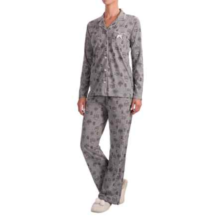 Laura Ashley Printed Pajamas - Long Sleeve (For Women) in Grey Cafe - Closeouts