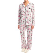 Laura Ashley Printed Pajamas - Long Sleeve (For Women) in White Dot Floral - Closeouts