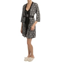 Laura Ashley Printed Robe and Chemise Set - 2-Piece, Elbow Sleeve (For Women) in Black R Damask - Closeouts