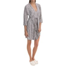 Laura Ashley Printed Robe and Chemise Set - 2-Piece, Elbow Sleeve (For Women) in Silver Paint Fl - Closeouts