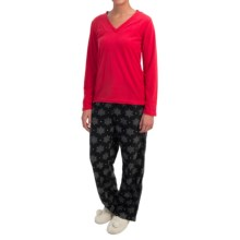 Laura Ashley Ribbed Fleece Pajamas - V-Neck, Long Sleeve (For Women) in Holiday Red - Closeouts