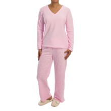 Laura Ashley Ribbed Fleece Pajamas - V-Neck, Long Sleeve (For Women) in Slipper Pink - Closeouts