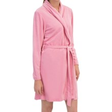 Laura Ashley Short Robe - Shawl Collar, Long Sleeve (For Women) in Rue De Rose - Closeouts