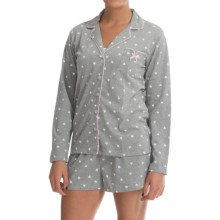 Laura Ashley Shorts Pajamas - Long Sleeve (For Women) in Heather Grey Heart - Closeouts