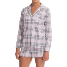 Laura Ashley Shorts Pajamas - Long Sleeve (For Women) in Slip Pink Plaid - Closeouts