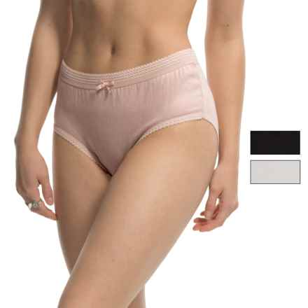 Laura Ashley Solid Panties - Briefs, 3-Pack (For Women) in Naked/Antique White/Black - Closeouts