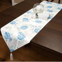 """Laura Ashley Stain-Resistant Table Runner - 72"""", Microfiber in Blue Hydrangea - Closeouts"""