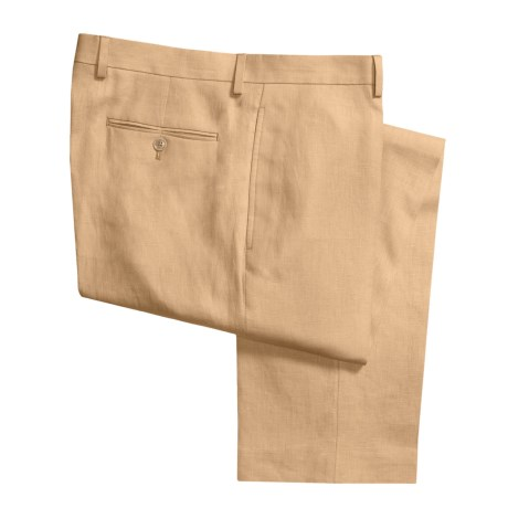 Lauren by Ralph Lauren Linen Pants - Flat Front (For Men) in Yellow