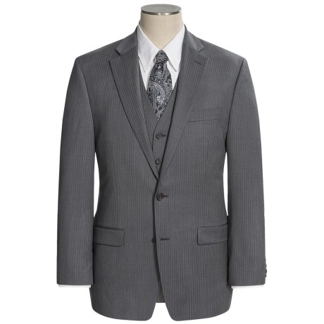 Lauren by Ralph Lauren Wool Stripe Suit - 3-Piece (For Men) in Grey