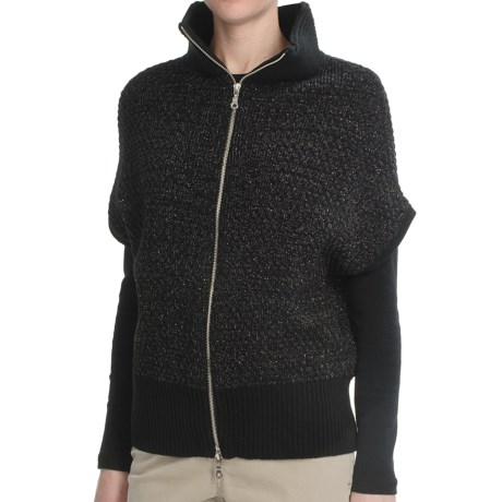Lauren Hansen Bat Wing Cardigan Sweater - Short Sleeve (For Women) in Black/Lurex