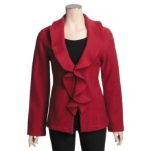 Lauren Hansen Boiled Wool Ruffle Jacket - Shawl Collar (For Women) in Rouge - Closeouts
