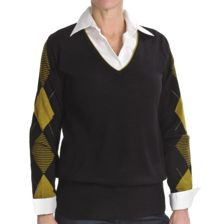 Lauren Hansen Cashmere Argyle Sweater - V-Neck (For Women) in Black/Golden Olive