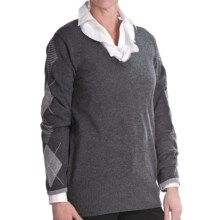 Lauren Hansen Cashmere Argyle Sweater - V-Neck (For Women) in Charcoal/Med Grey - Closeouts