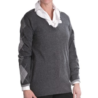Lauren Hansen Cashmere Argyle Sweater - V-Neck (For Women) in Charcoal/Med Grey