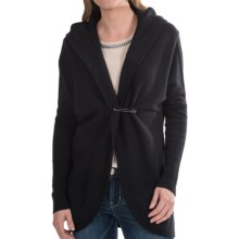 Lauren Hansen Cashmere Cocoon Cardigan Sweater - Hooded (For Women) in Black - Closeouts