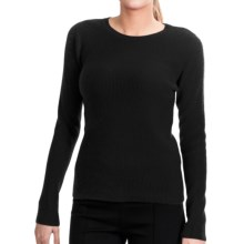 Lauren Hansen Cashmere Thermal Sweater - Crew (For Women) in Black - Closeouts