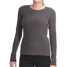Lauren Hansen Cashmere Thermal Sweater - Crew (For Women) in Medium Grey - Closeouts