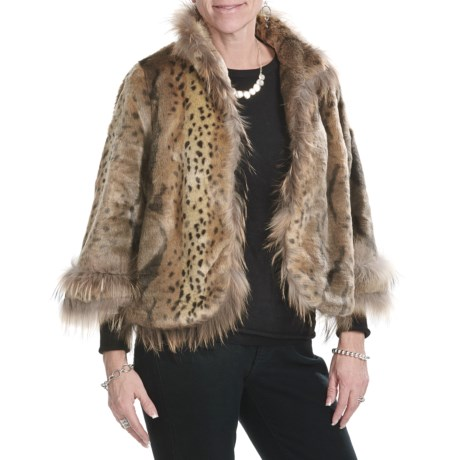 Lauren Hansen Faux-Fur Crop Jacket - Bracelet Sleeve (For Women) in Multi