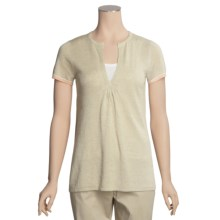 Lauren Hansen Linen-Rich Tunic Shirt - Split Neck, Short Sleeve (For Women) in Oatmeal - Closeouts