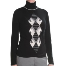 Lauren Hansen Merino Wool Argyle Sweater - Slim Fit (For Women) in Black/Grey - Closeouts