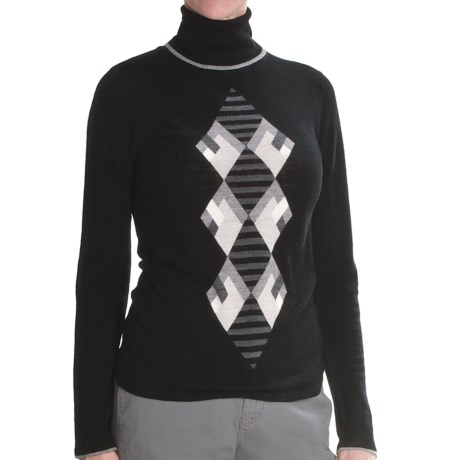 Lauren Hansen Merino Wool Argyle Sweater - Slim Fit (For Women) in Black/Grey