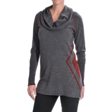 Lauren Hansen Merino Wool Argyle Sweater - Slim Fit (For Women) in Charcoal/Cherry - Closeouts